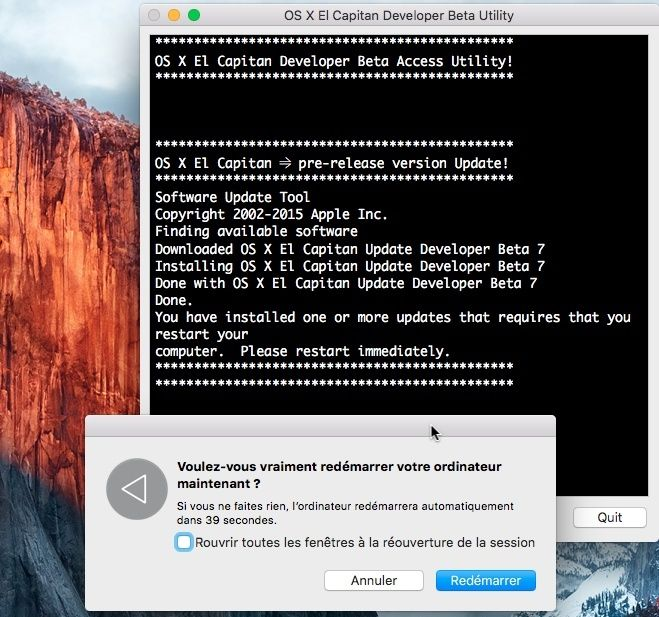OS X El Capitan Developer Beta Utility.app Pp10