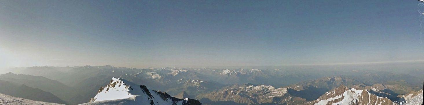 """Grande première,  vue panoramique  effectuée depuis le sommet du MONT BLANC """" Street View GOOGLE EARTH Pano_m10"""
