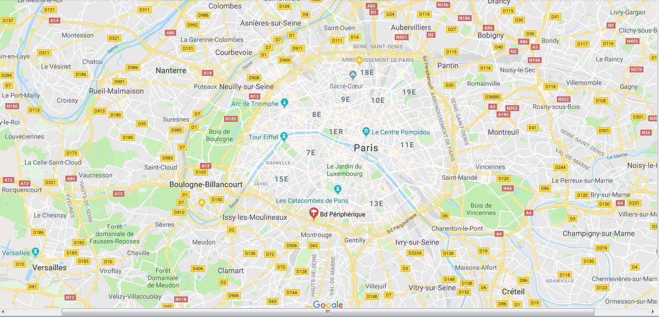 Itinéraire animé sur image Google Earth Peri10