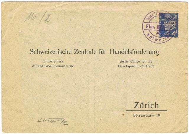 """Les marques des censeurs """"lecteurs"""" des centres de contrôle allemands : n : Nancy. Ccf21011"""