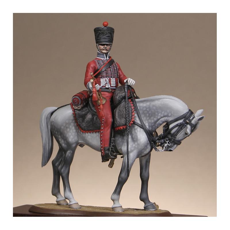 Hussard du 9ème Régiment en tenue de route après 1812 Trompe11