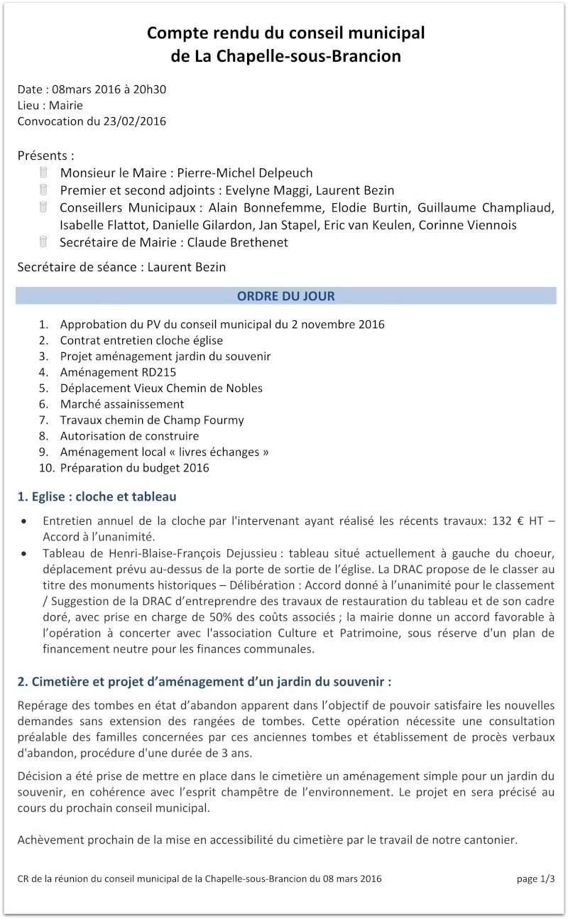 Compte rendu du Conseil Municipal de La Chapelle-sous-Brancion Date : 23 février 2016 110