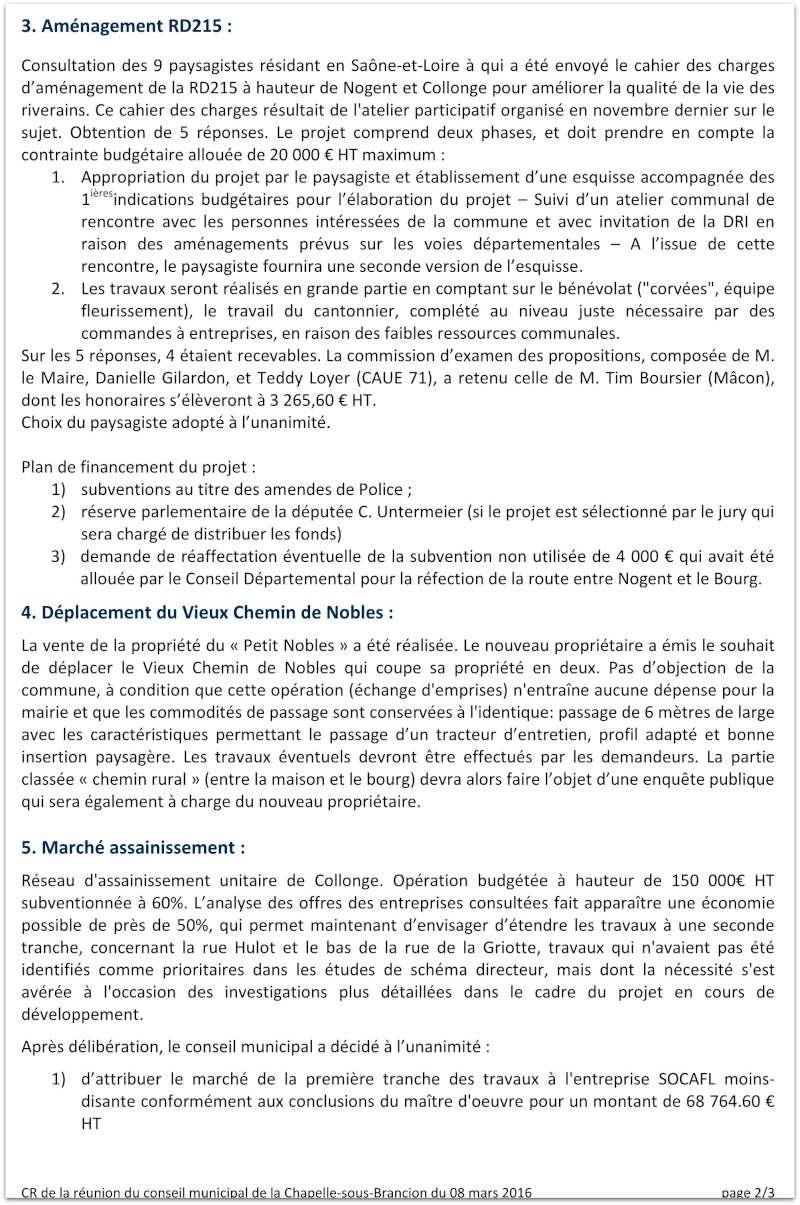 Compte rendu du Conseil Municipal de La Chapelle-sous-Brancion Date : 23 février 2016 210
