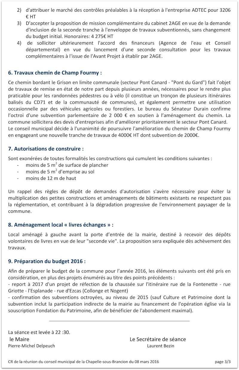 Compte rendu du Conseil Municipal de La Chapelle-sous-Brancion Date : 23 février 2016 310