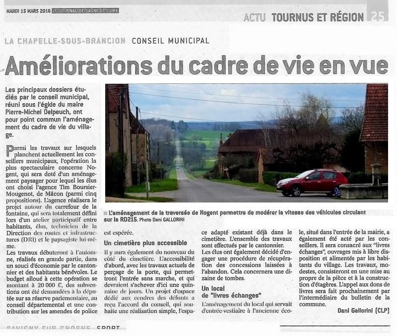 Compte rendu du Conseil Municipal de La Chapelle-sous-Brancion Date : 23 février 2016 Articl10