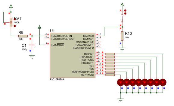 مشروع أضواء متلاحقة 8 مخارج متعدد النماذج والسرعات ، بسيط وذهيد ياستخدام الميكروكونترولر PIC16F628A  Fig10