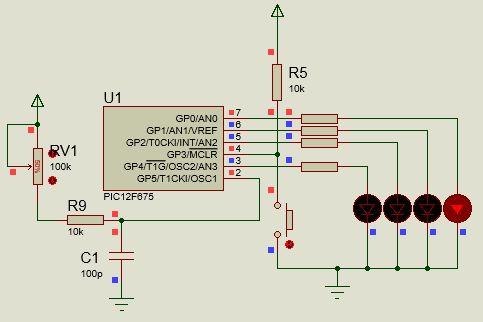 مشروع أضواء متلاحقة 8 مخارج متعدد النماذج والسرعات ، بسيط وذهيد ياستخدام الميكروكونترولر PIC16F628A  Fig11