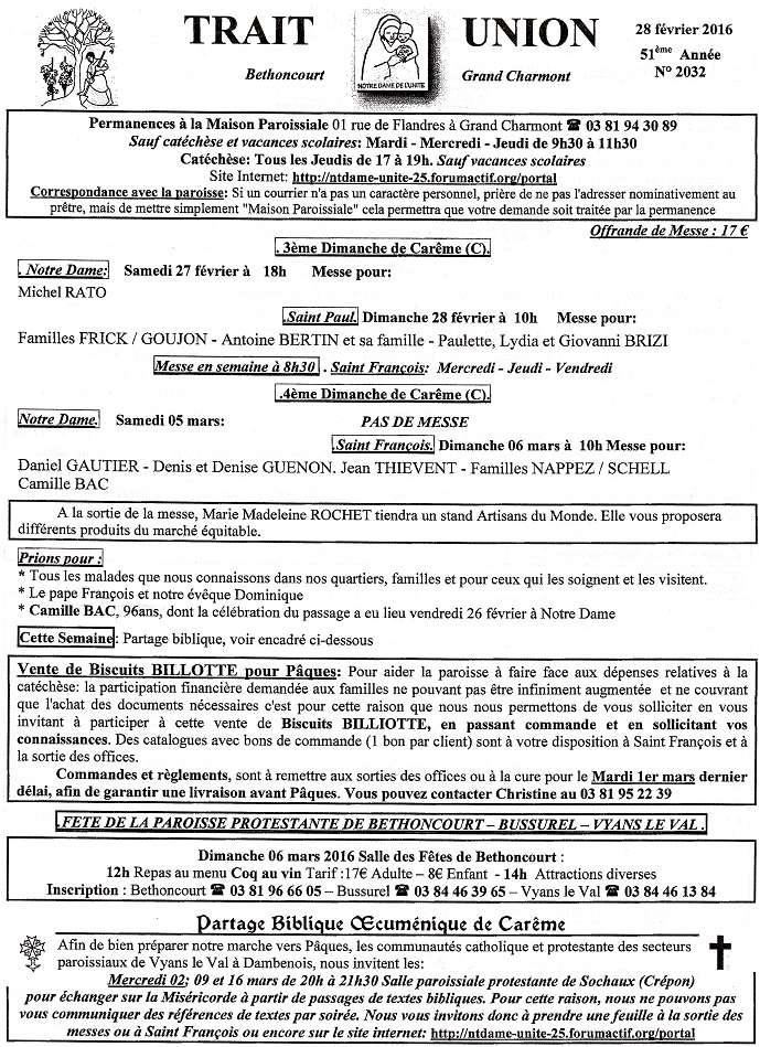 Trait d'union du 28 février 2016 Tu160210