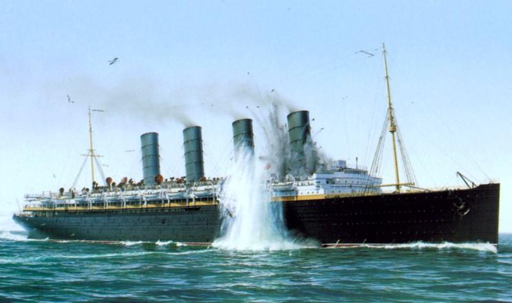 Diorama du torpillage du RMS Lusitania 1/350 Gunze Sangyo 13_lus10