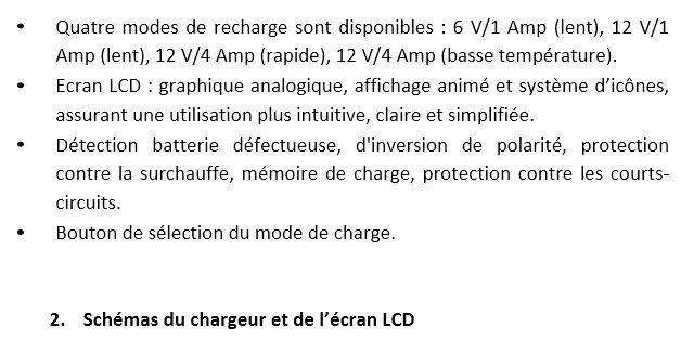 alimentation électrique monture (batterie voiture) + chargeur Bat. 310