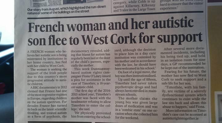 Article dans la presse quotidienne irlandaise