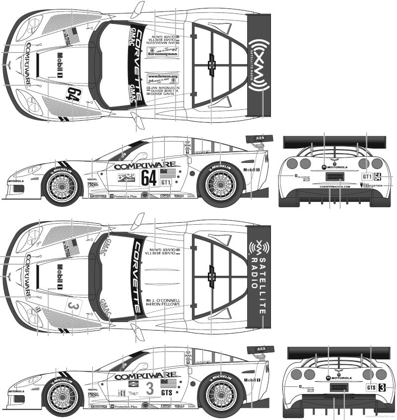 CORVETTE C6R COMPUWARE LE MANS 2006 LMGT1 CLASS WINNER REVELL ET SCALE MOTORSPORTS Corvet10