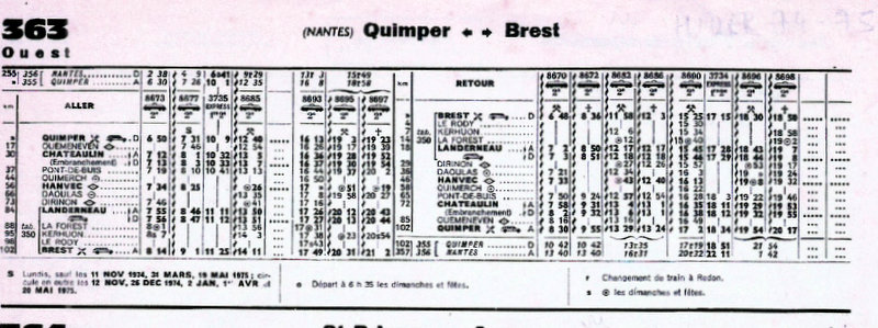 HORAIRE BREST-QUIMPER HIVER 1975/76 Scan19