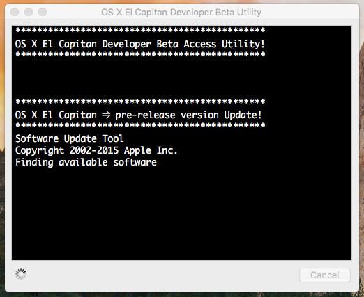 OS X El Capitan Developer Beta Utility.app 311