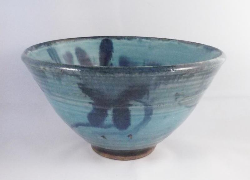 Unmarked Blue Glaze Stoneware Bowl Dscf6219