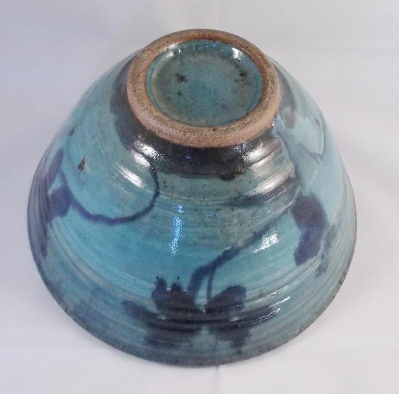 Unmarked Blue Glaze Stoneware Bowl Dscf6221