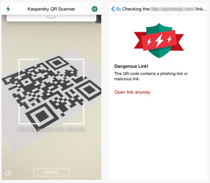 Apple iOS:Android: Kaspersky QR Scanner 234