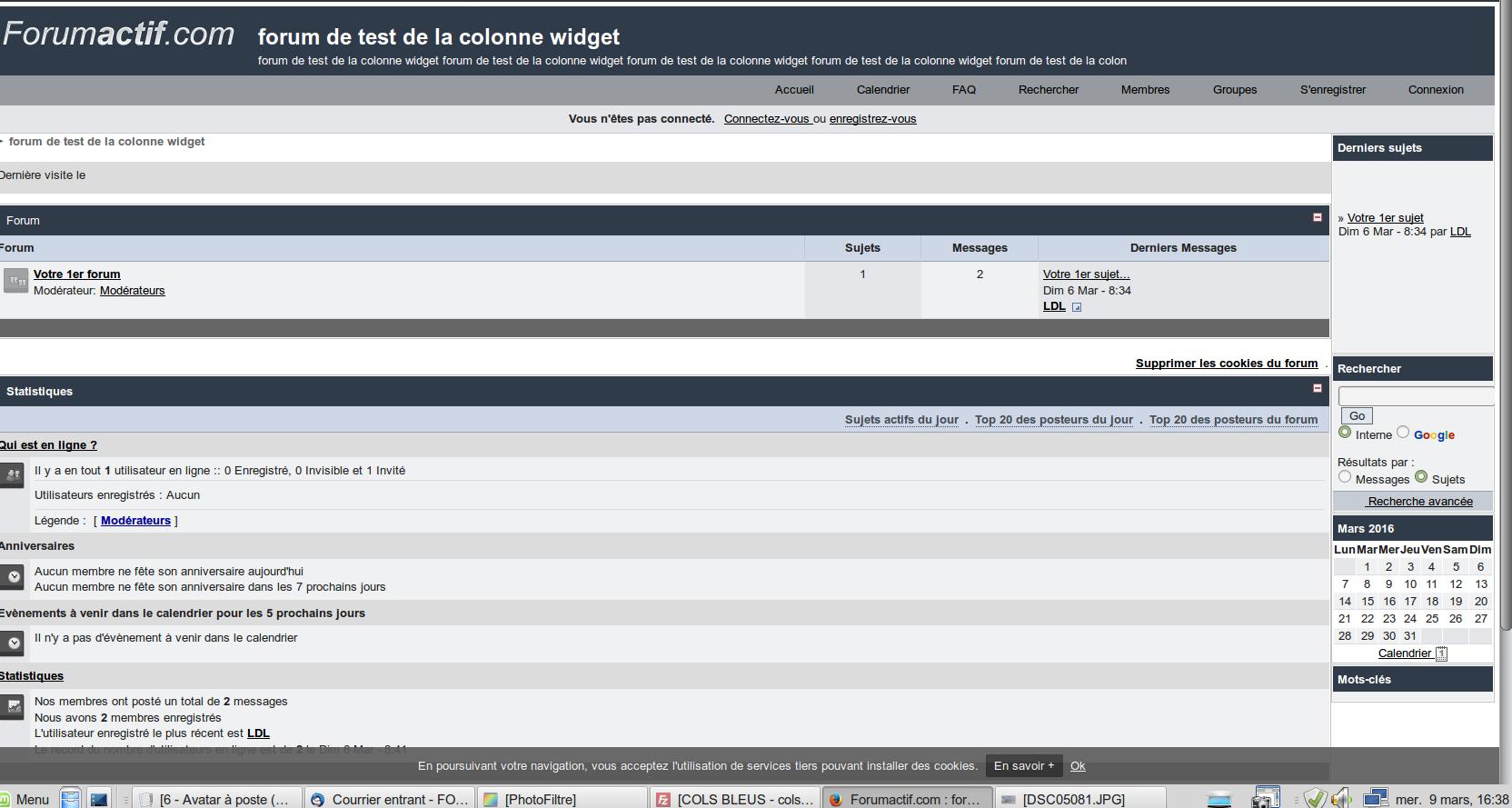 fa_toolbar - Widgets simplement sur la page d'accueil du forum Screen26