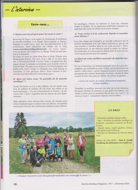 Article dans magazine spécialisé sur la marche nordique : 10 questions à Arja Meyer  Arja_m12