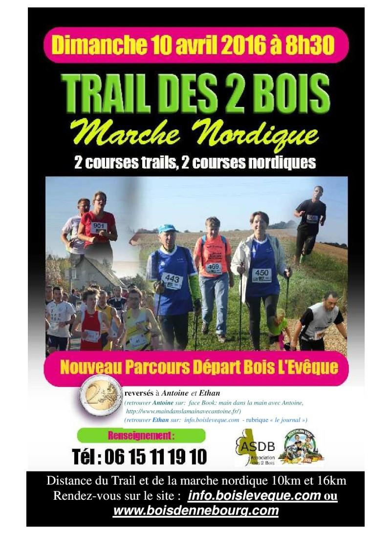 Marches Nordiques et Trail des 2 bois 10 et 16 kms  Le 10042016 à Bois l'Evêque  Trail_14
