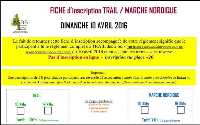 Marches Nordiques et Trail des 2 bois 10 et 16 kms  Le 10042016 à Bois l'Evêque  Trail_16