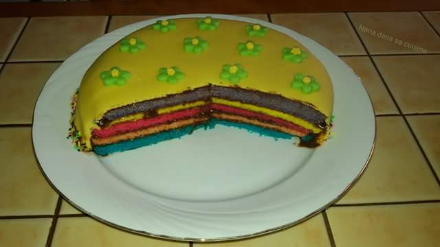 Rain bow cake ganache au nutella  Fb_img91