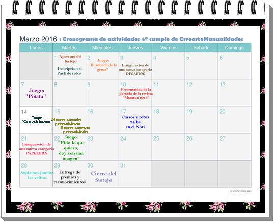 HOY, 1º DE MARZO COMIENZA EL CUMPLE DE CREARTEMANUALIDADES Calend12