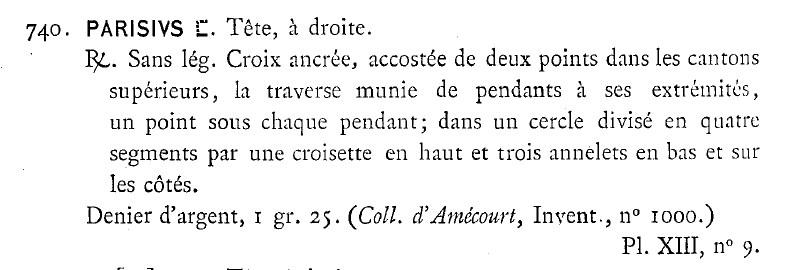 Denier merovingien Paris croix ancré Prou210