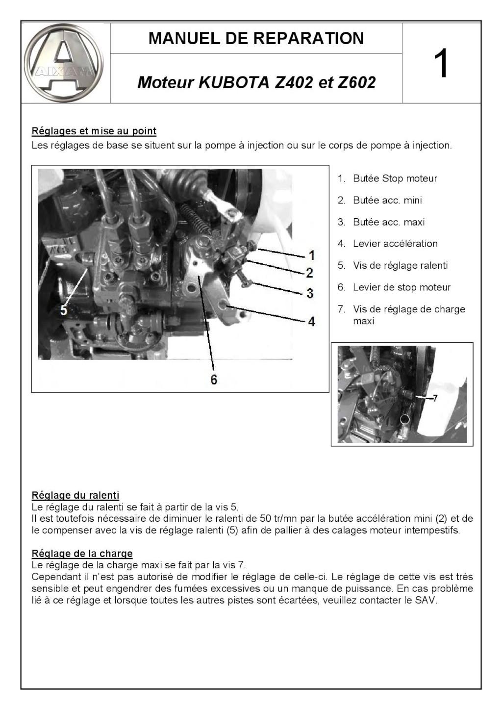 Réglages et mise au point Moteur KUBOTA Z402 et Z602 C_user34
