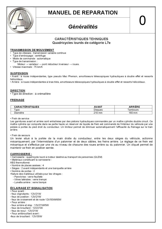 CARACTERISTIQUES TEHNIQUES Quadricycles lourds de catégorie L7e C_user39