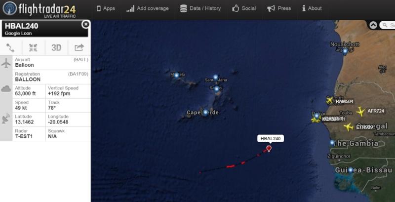 Globo de Google y tráfico militar al sur de Canarias Google10