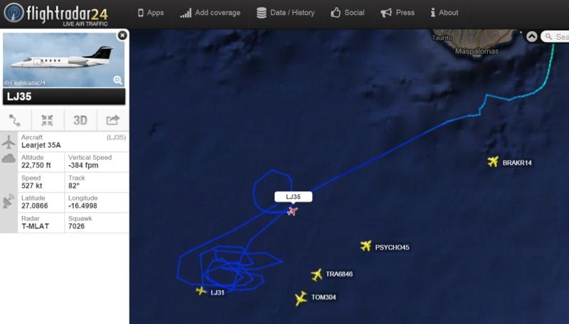 Globo de Google y tráfico militar al sur de Canarias Learje10