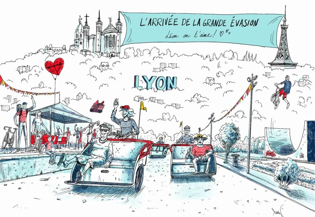 Arrivée à Lyon du Tour de France La grande Evasion en triporteurs ! Arrivz10