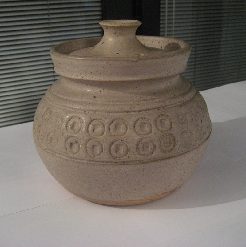 Pot With Lid, Repeating Pattern Circle Indentations and CA?  Img_2413