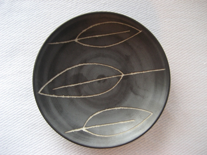 Small Dark Brown Porcelain Dish With Leaf Etching Swedish? Mark On Base Img_2812