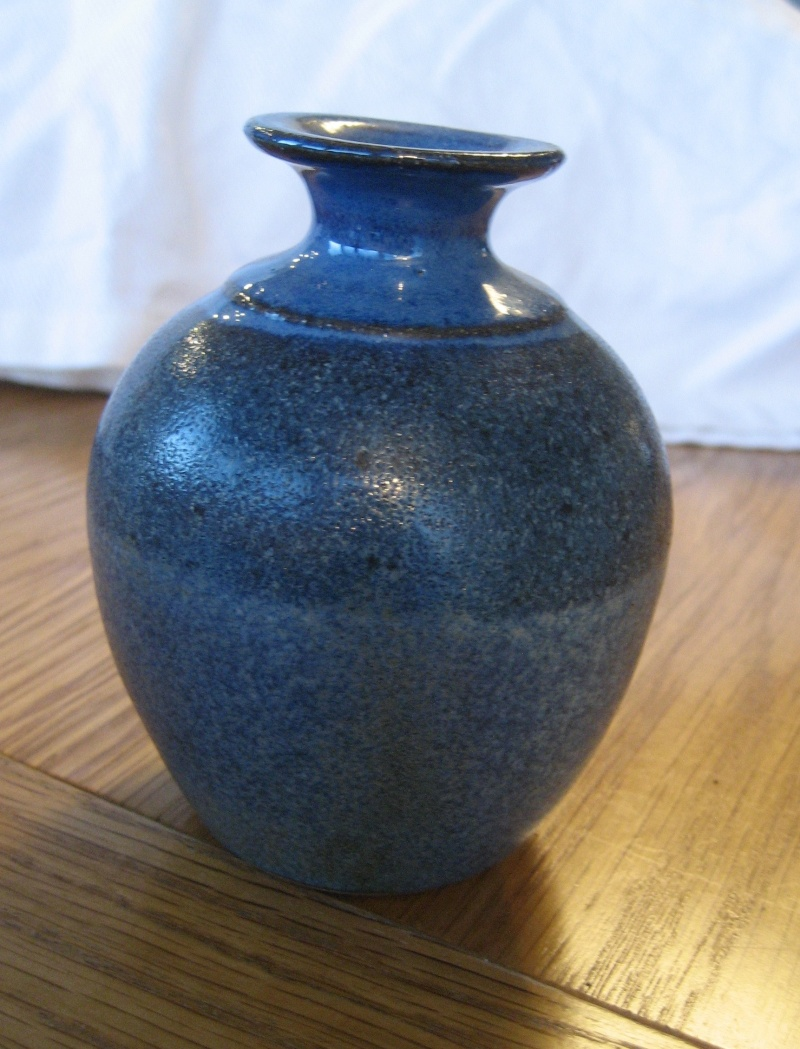 Bud Vase With Blue Glaze Stamp Obscured By The Glaze. Img_2818