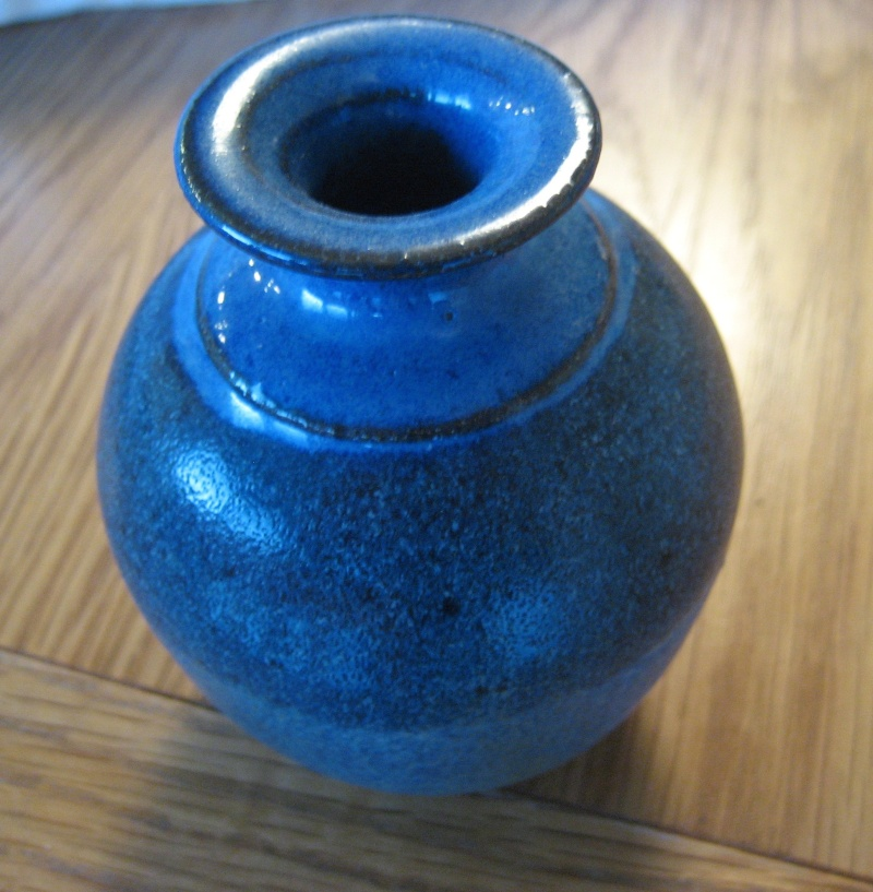 Bud Vase With Blue Glaze Stamp Obscured By The Glaze. Img_2819