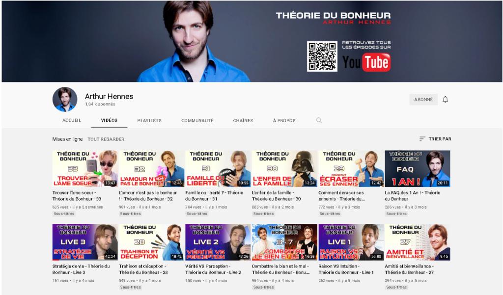 ⭐️⭐️⭐️ Le Vidéaste à l'Honneur #69 Théorie du bonheur / Arthur Hennes | Venez critiquer cette chaîne ! Sans_t20