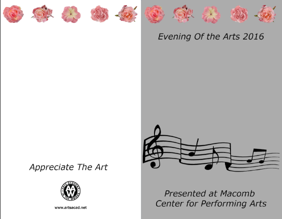 Assignment 8: (2nd, 5th and 6th hours): Evening of the Arts program cover due 3/23 Llllll12
