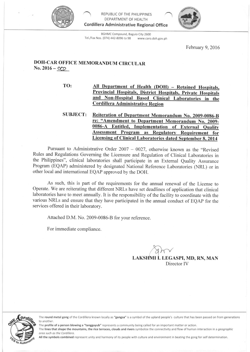 DCMC 2016-002: Reiteration of DM 2009-0086B re: Amendment to DM 2009-0086A: Implementation of External Quality Assessment Program (EQAP) as Regulatory Requirement for Licensing of Clinical Laboratories dated Sept. 8, 2014 00210