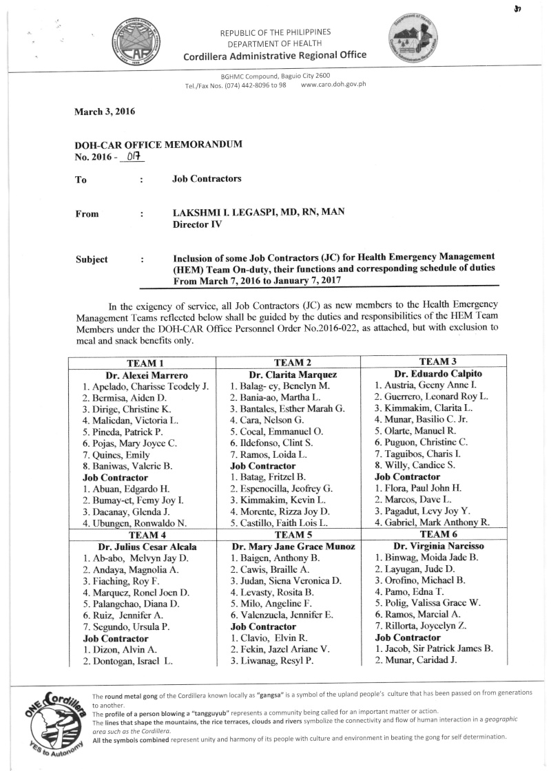 DCOM 2016-017: Inclusion of some Job Contractors (JC) for Health Emergency Management (HEM) Team On-duty, their functions and corresponding schedule of duties from March 7, 2016 to January 7, 2017 Dcom_010