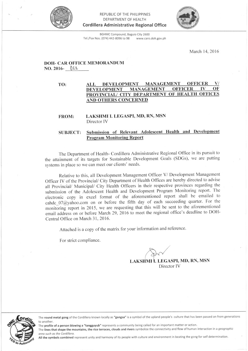 DCOM 2016-022: Submission of Relevant Adolescent Health and Development Program Monitoring Report Dm10