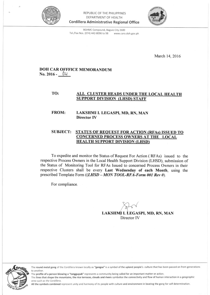 DCOM 2016-021: Status of Request for Action (RFA) issued to concerned process owners at LHSD Dm_00210