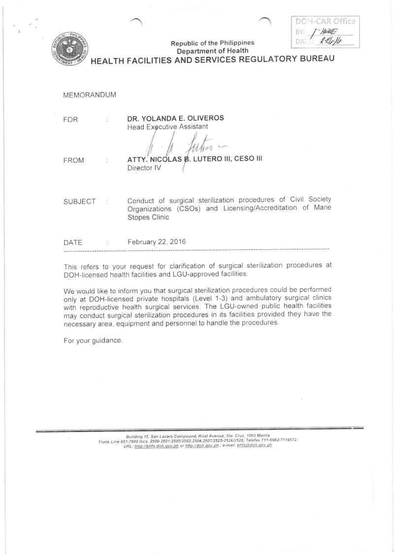 DCMC 2016-004: Memorandum on the Conduct of Surgical Sterilization Procedures dated Feb. 22, 2016 Memora10