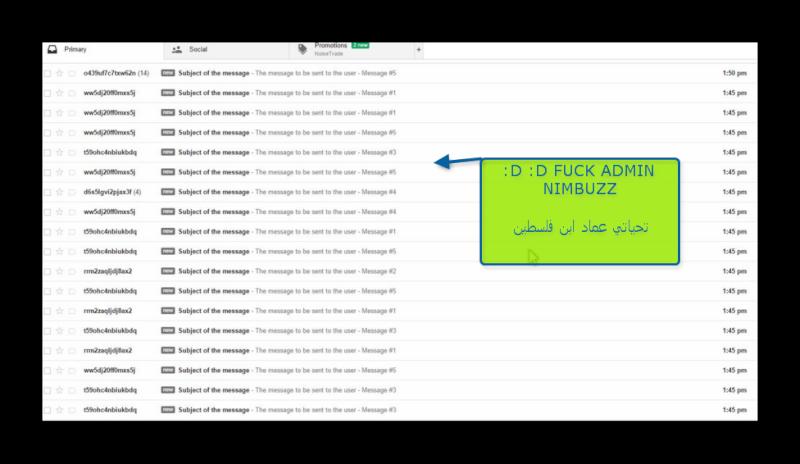 Nimbuzz: Soon flood messages to email Admin nimbuzz :D :D Ashamp12