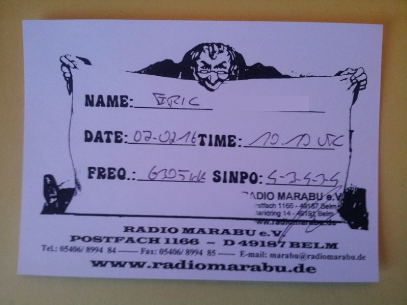 Courrier de radio MARABU 20160215