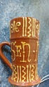 Terracotta slipware / motto ware mug with makers stamp Img_2034