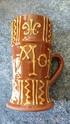 Terracotta slipware / motto ware mug with makers stamp Img_2036