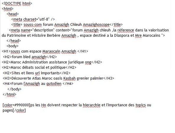 page - Page html avec balises principales: title description html body H1a H6 Mimoun16