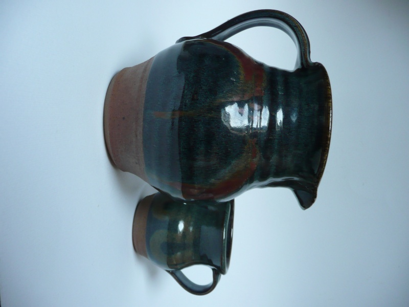 2 studio pottery jugs  P1080914